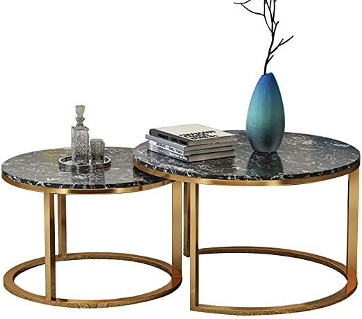 Photo of WYJW Modern Simple Stackable Round Coffee Table/Side Table Metal Golden Frame Ma…