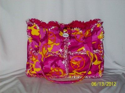 Pink Yellow Orange Camo Peace Sign Rag Quilt Diaper Bag Tote Purse