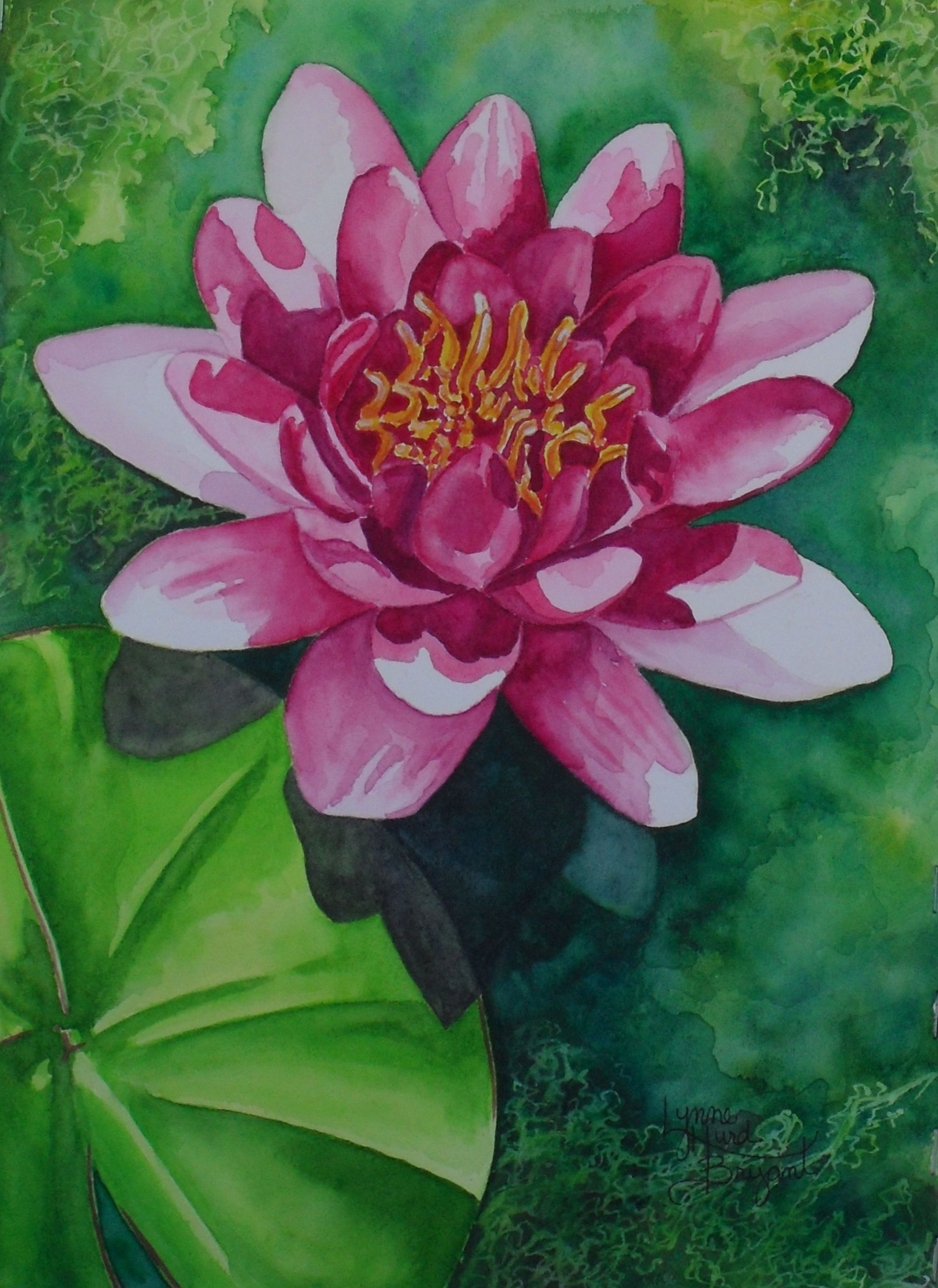 Lily Pad In The Sunlight Lotus Flower Painting Flower Painting