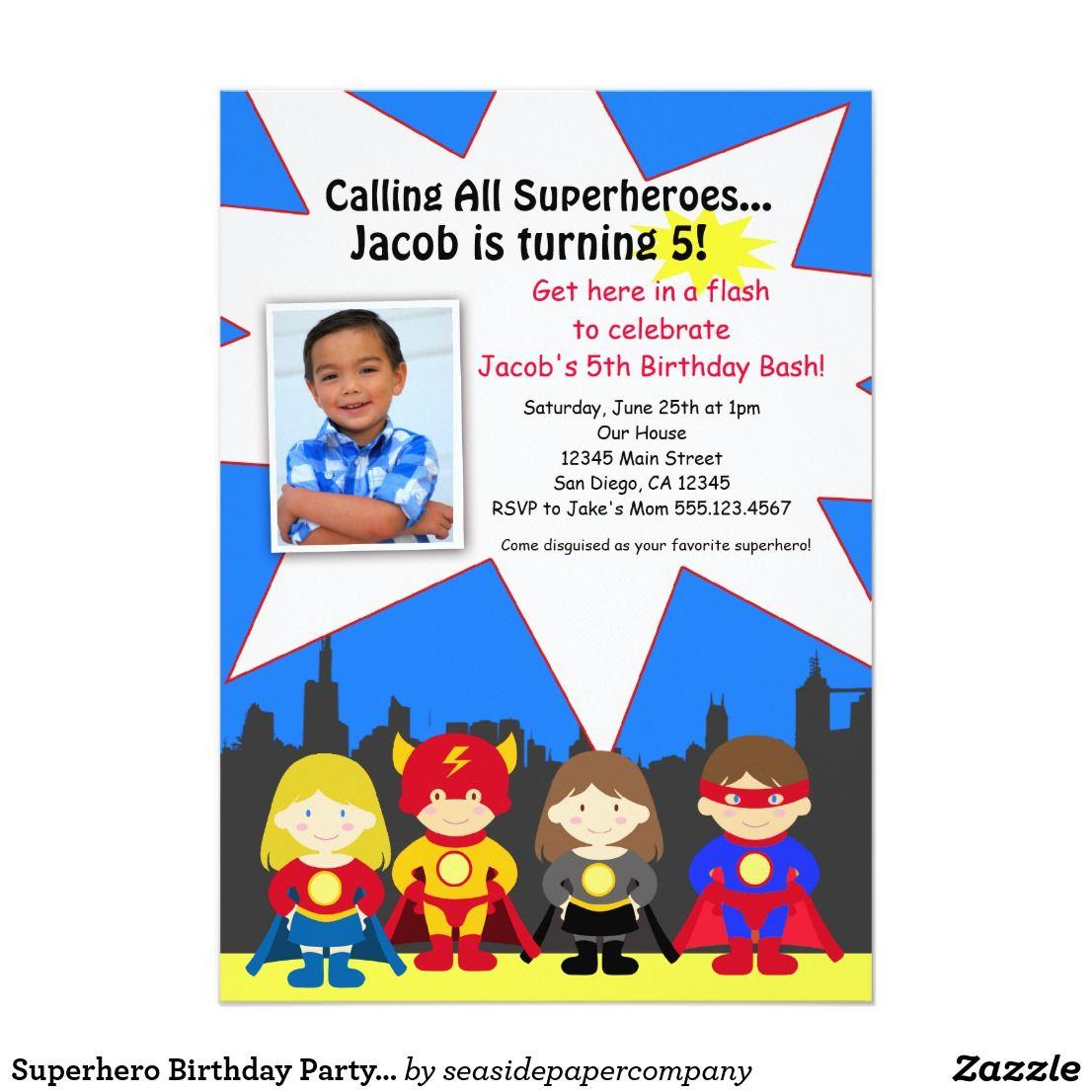 Superhero Birthday Party Photo Invitation | Holidays, Celebrations ...
