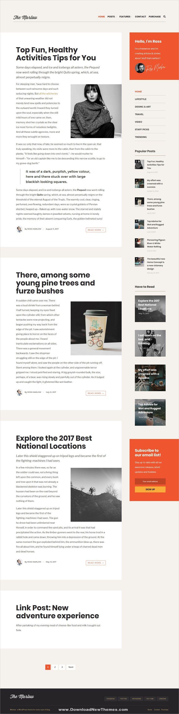 Marlow Distinctive Typography First Wordpress Blog Theme Blog Themes Wordpress Blog Themes Wordpress Theme Free Responsive