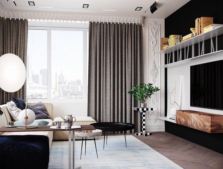 Interni Casa, Arredamento Con Mobili Di Legno, Illuminazione Con Fari Da  Soffitto Piccoli