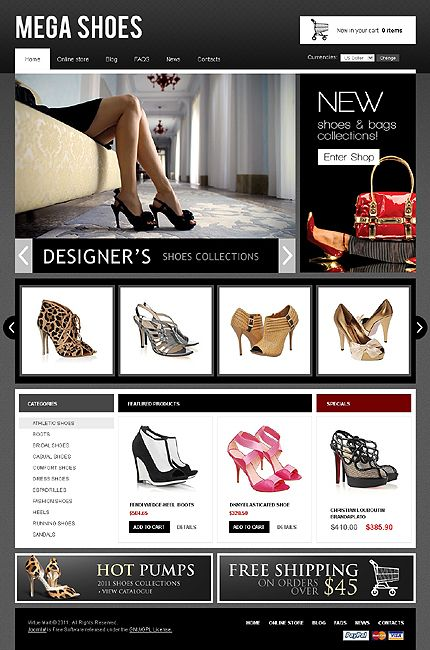 Php Website Templates Mega Shoes Virtuemart Template  Mobile Design Web Design