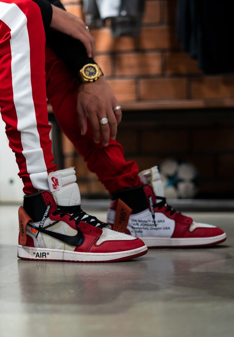 Men S Red White Striped Track Pants With Images Mens