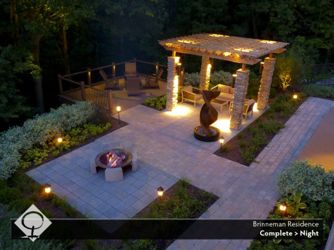 Beautiful Trellis Pergola And Fire Pit At Night By The