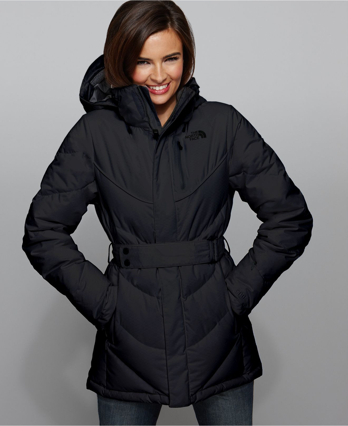 The North Face Coat Greta Zip Front Belted Puffer In Black 299 North Face Coat Coat Winter Coat Warmest [ 1616 x 1320 Pixel ]