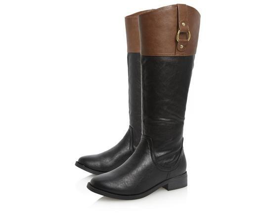 Head Over Heels Ladies TAMZEN - Contrast Panel Riding Boot - black | Dune Shoes Online