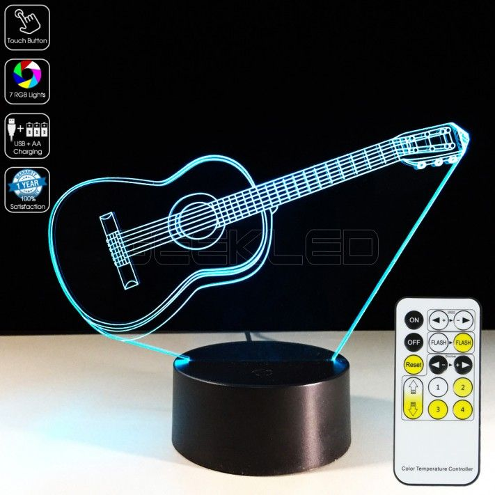 3d Guitar Optical Lamp Is A Stunning Gift Choice 3dlamp Night Lamp Ledlamp Music Guitar Geekled 3d Led Lamp Led Glow Lights 3d Illusion Lamp