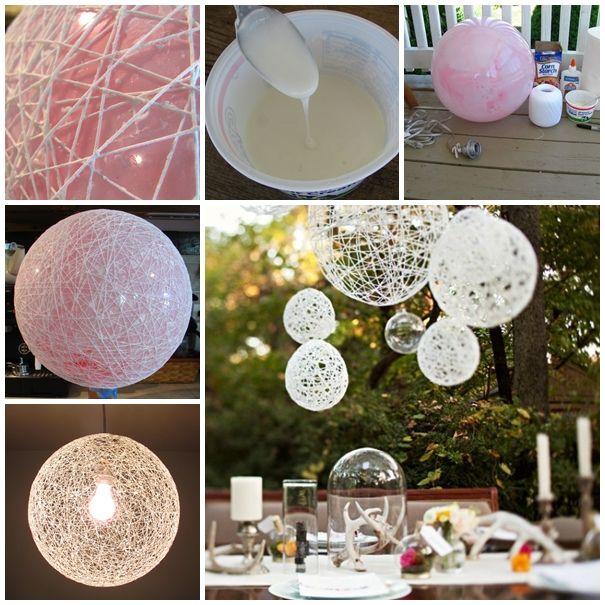 Tutorial With Wonderfuldiy Com Wonderful Diy Decorative String Chandelier Yarn And Balloon