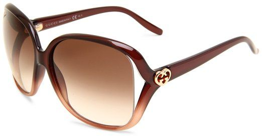 13546aec95f1 Gucci Women's 3500/S Rectangle Sunglasses, Shaded Brown Frame/Brown  Gradient Lens, One Size