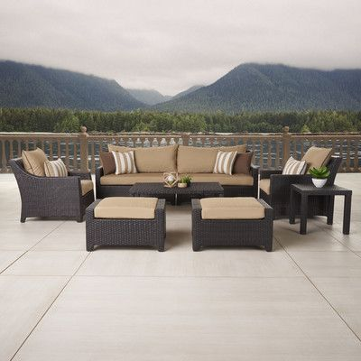 Delightful Three Posts Northridge 8 Piece Deep Seating Group In Espresso With Cushions  Fabric: Maxim Beige. Patio SeatingPatio Dining SetsExpressedOutdoor ...