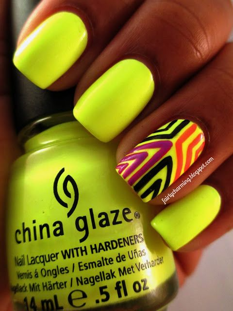Beautiful yellow nails. This yellow is very nice for summer ...