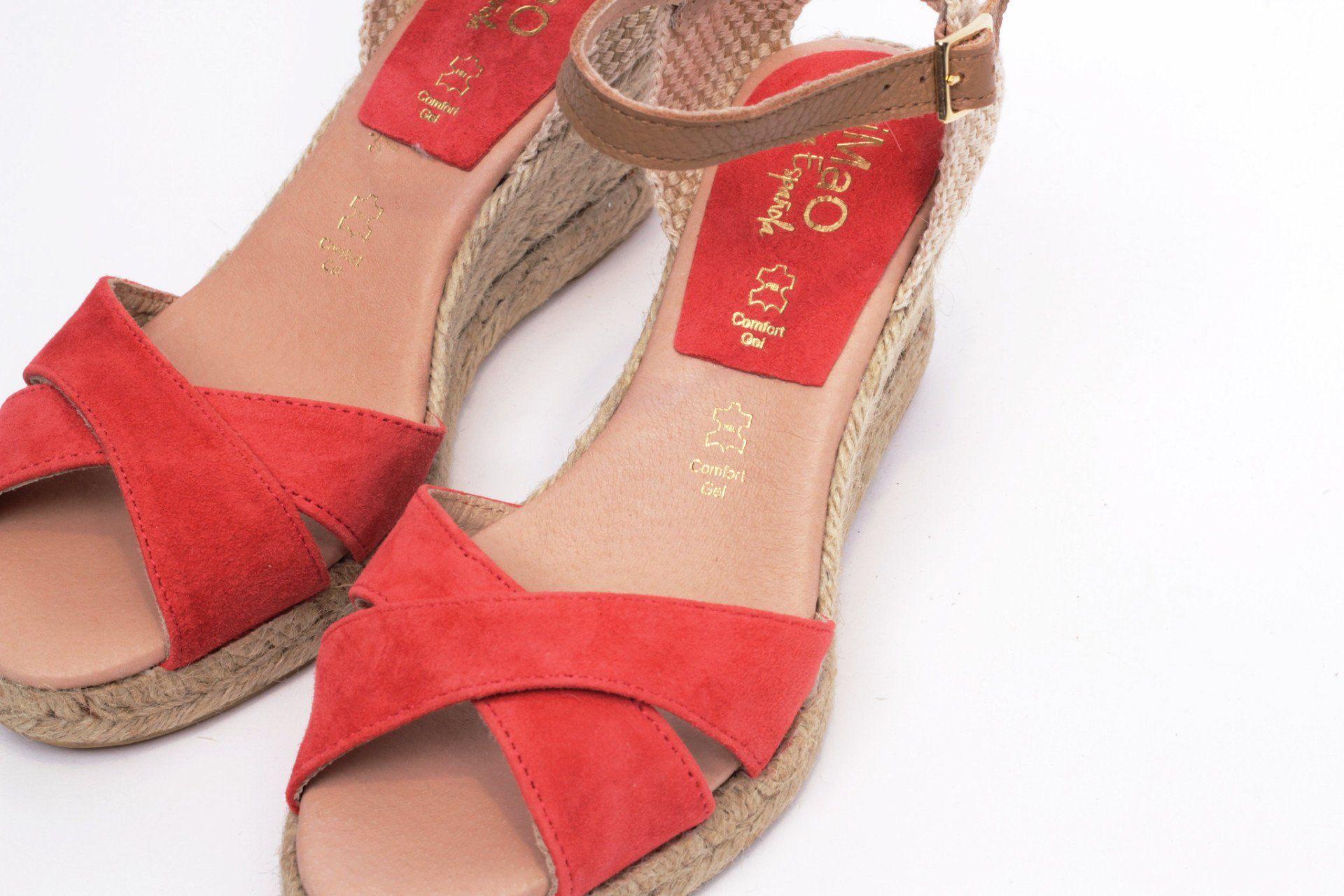 df41089805ba8 miMaO Esparto M Coral - Sandalias mujer tacón cuña cómodo color rojo coral  piel ante yute- Comfort women s sandals heel wedge espadrilles mink sand  red ...