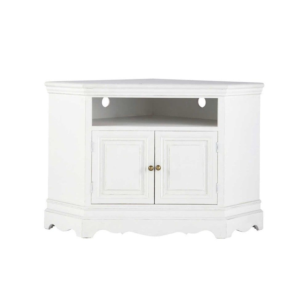 Paulownia Wood Corner Tv Unit In White W 105cm Meuble Tv Angle Meuble Tv Mobilier De Salon