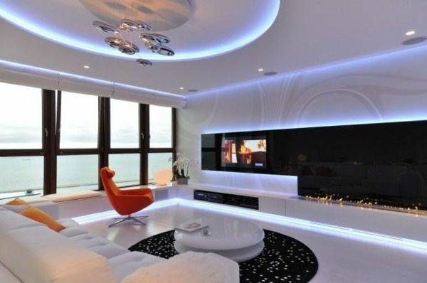 moderne einrichtungsideen wanddeko schwarzer teppich versteckte - modern wohnzimmer gestalten