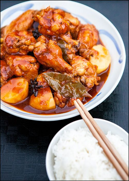 Chicken Asado - A wonderful Filipino stew of tender chicken & potatoes in a rich, sweet & tangy tomato-based gravy.