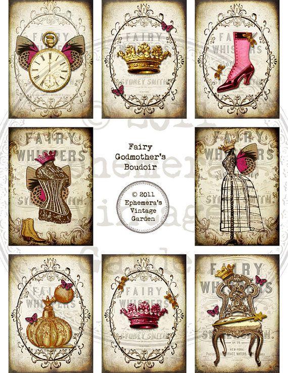 Printable ATC Digital Collage Sheet - Fairy Godmother's Boudoir