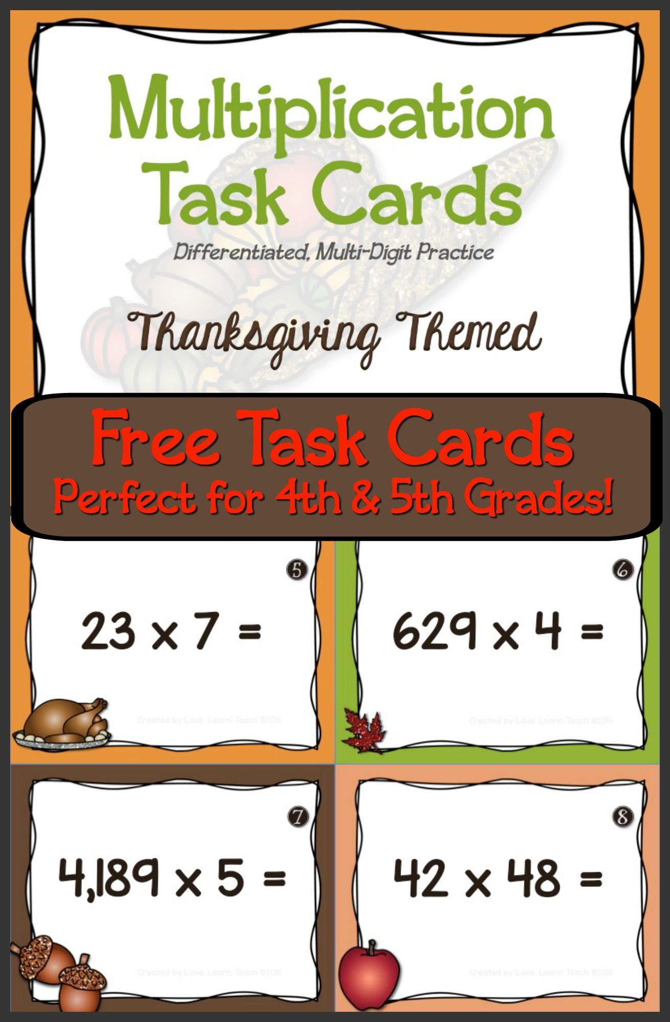 Thanksgiving Math Differentiated Multiplication Task Cards Math