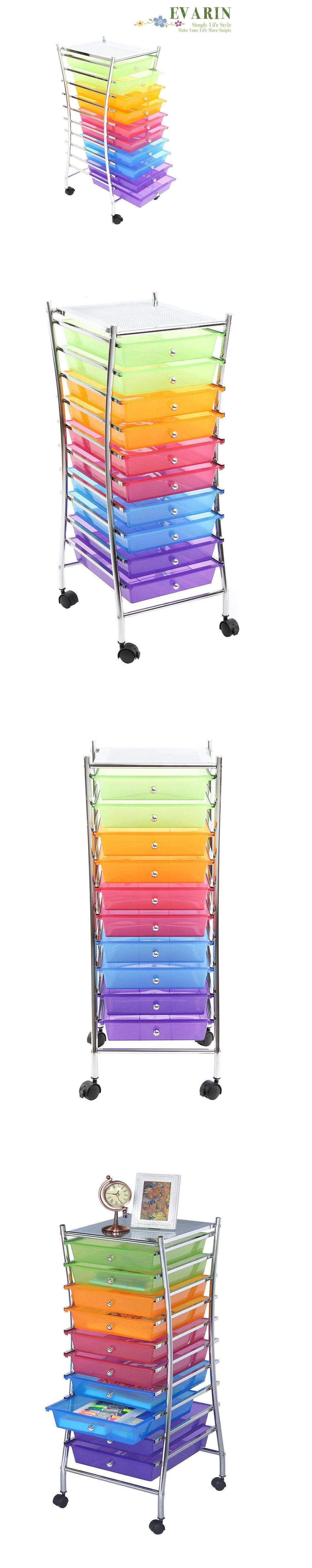Craft Carts 146400: 10 Drawer Plastic Storage Container Box Organize Cart  Beauty Salon Office School
