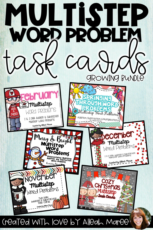 Multistep Word Problem Task Cards Growing Bundle