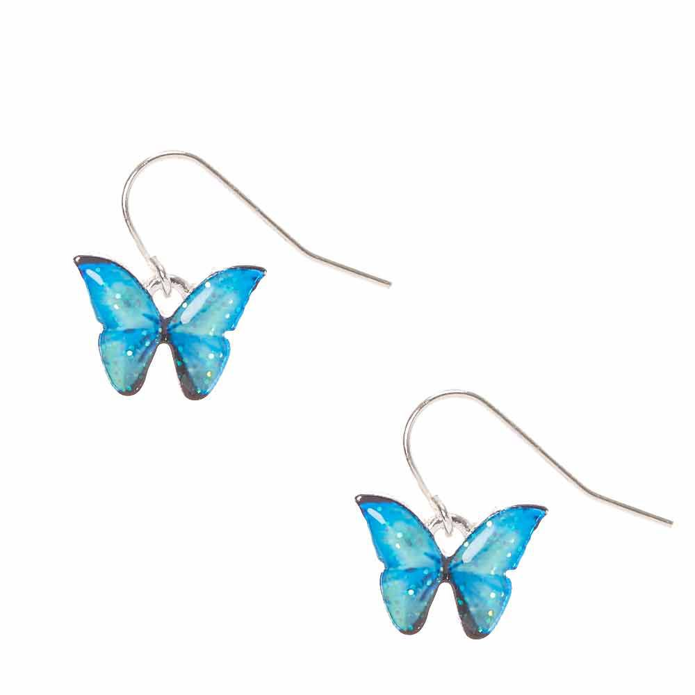 Glitz Glam Blue Diamontrigue Jewelry: Claire's Blue Glitter Butterfly Drop Earrings In 2020