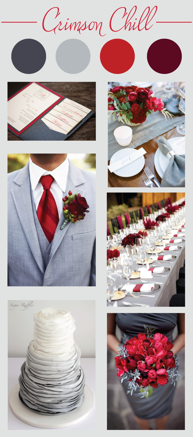 Crimson chill wedding color palette red grey and maroon - Maroon and grey color scheme ...
