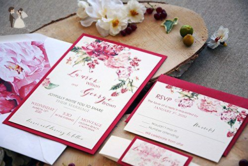 Floral wedding invitation read and cream sample wedding party colorful customized wedding invitation card red and white watercolor wedding invitation beautiful marriage wedding invitation sample stopboris Image collections
