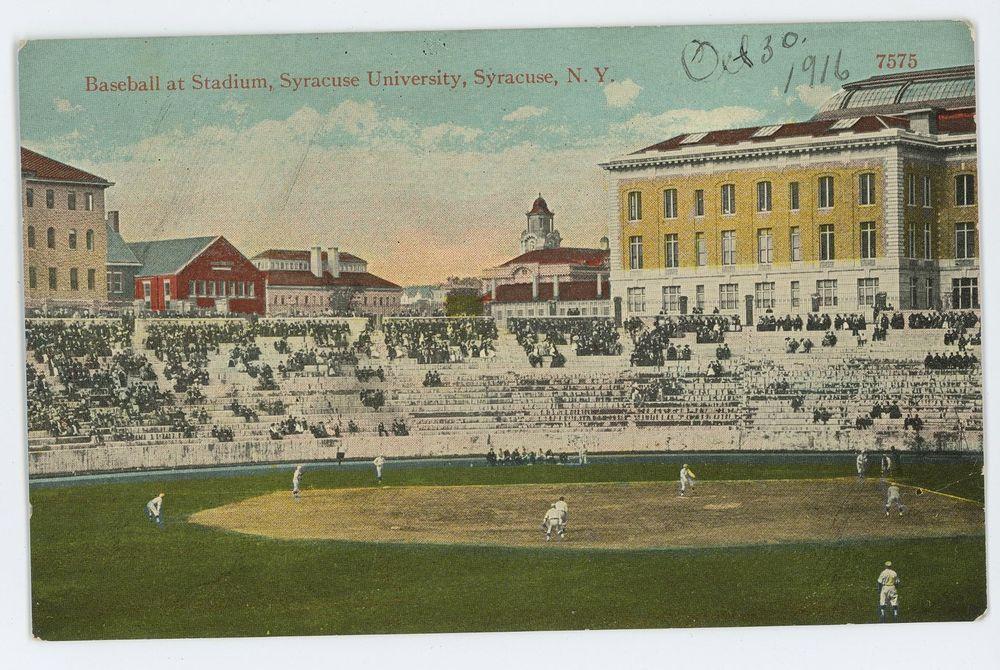 Baseball At Football Stadium Syracuse University Orangemen Ny Vintage Postcard Football Stadiums Syracuse University Stadium