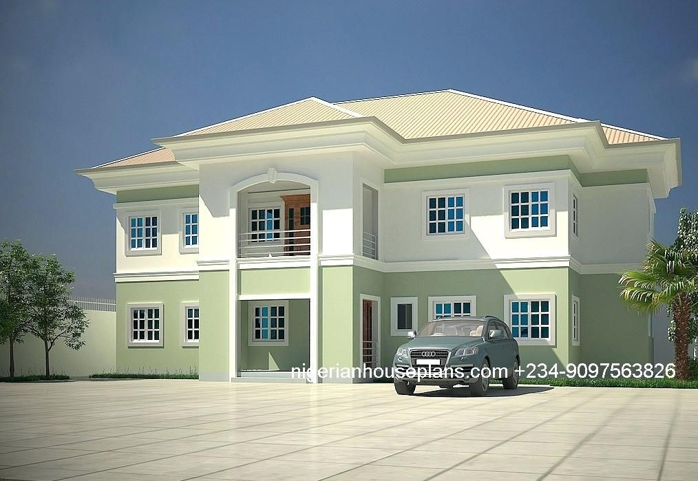 5 Bedroom Bungalow Plans In Nigeria 5 5 Bedroom Bungalow Floor Plans In Nigeria In 2020 House Plans Mansion Duplex House Design Modern Bungalow House