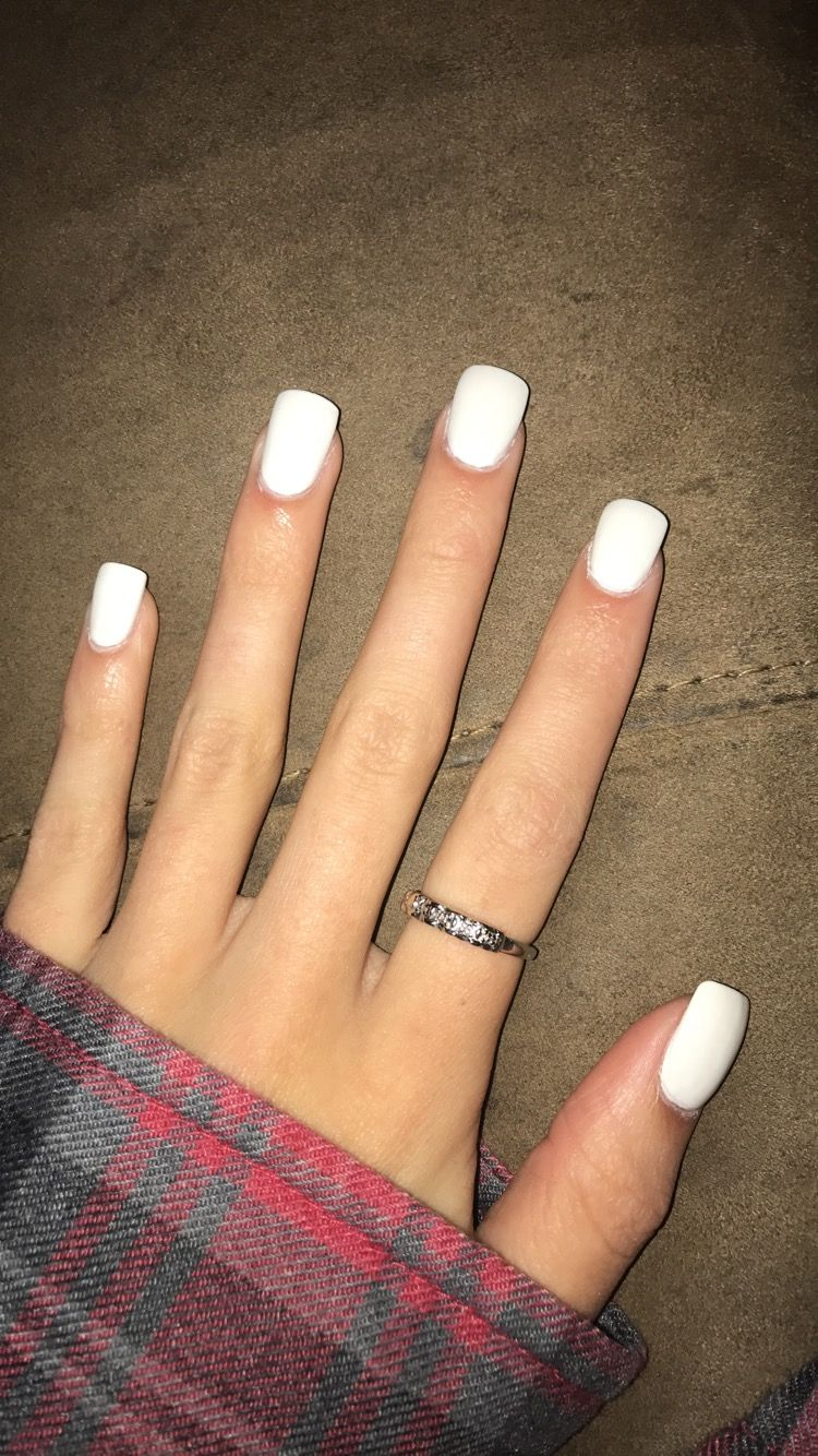 White Acrylic Squoval Nails (my pic)   nails.   Pinterest   Acrylics ...