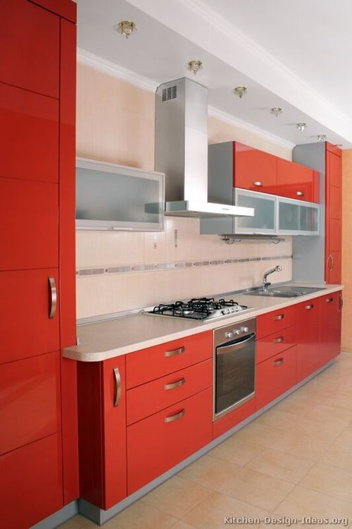red and white kitchen cabinets interior design from Red Kitchen Cabinet