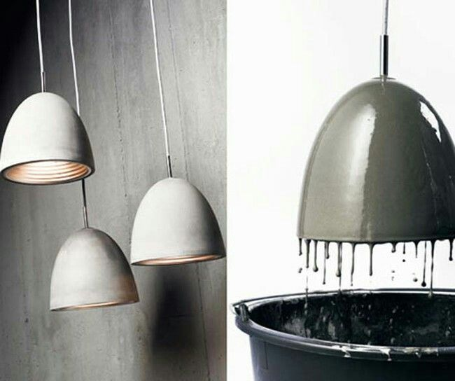 Dipped concrete lamp shades