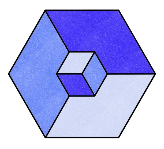 A 3D Cube - an optical illusion This is easy to draw with the