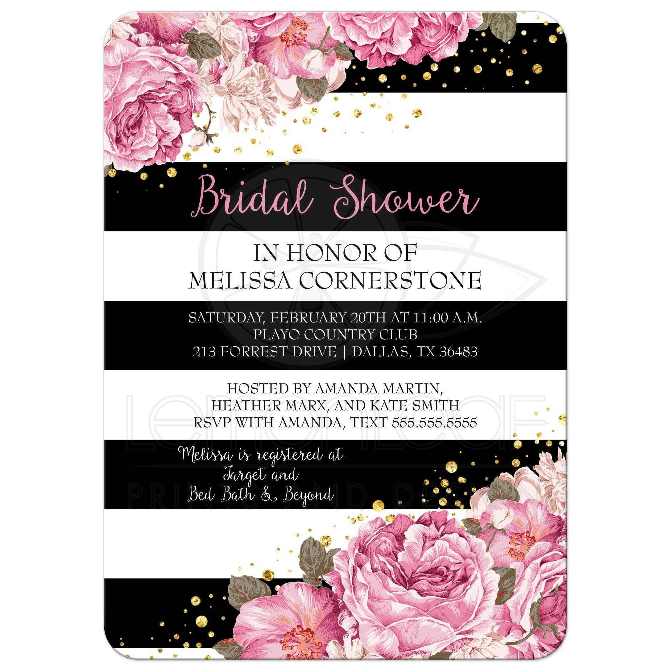 Bridal Shower Invitation - Black Stripes, Pink Flowers and ...