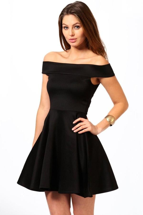 ffc1e9249668 boohoo Tamsin Off The Shoulder Skater Dress | JEROBOOOM! | Dresses ...