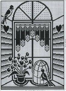 Схема вязаной крючком шторы