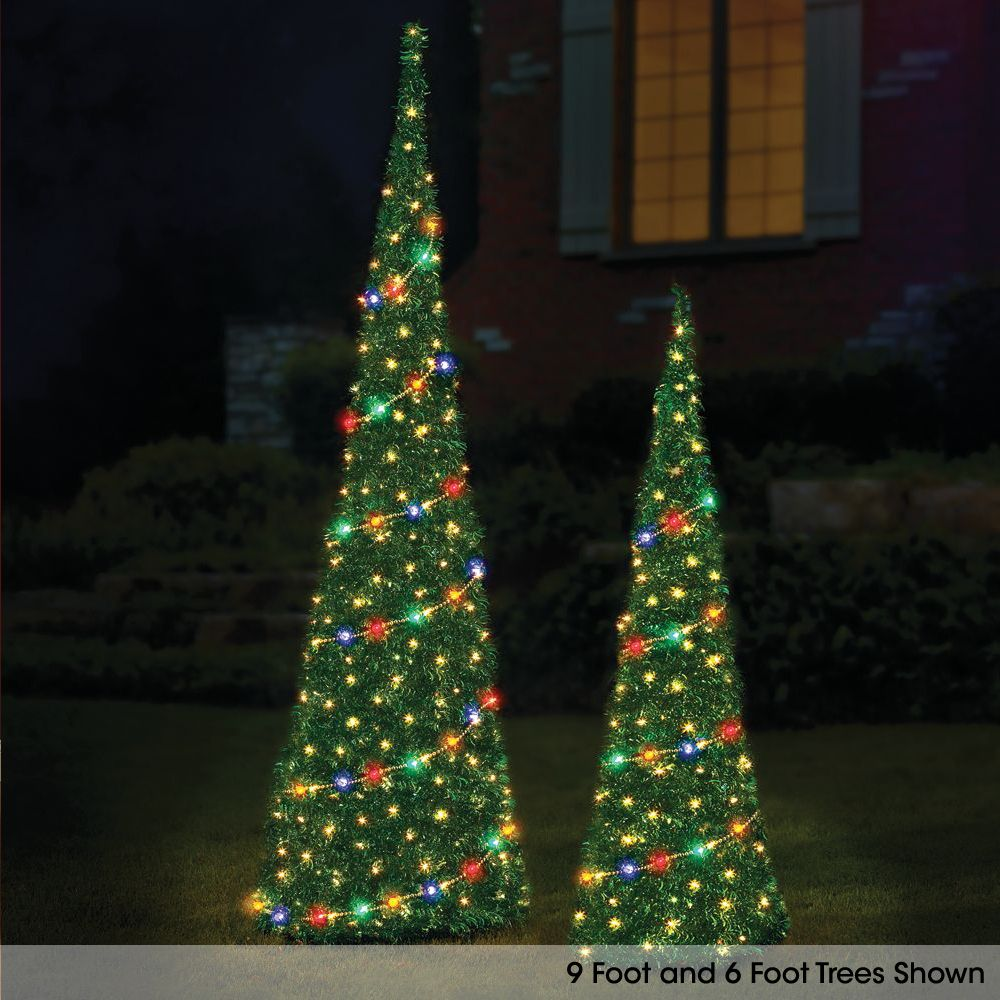 the 6 prelit pop up tinsel tree hammacher schlemmer - Pop Up Pre Lit And Decorated Led Christmas Tree