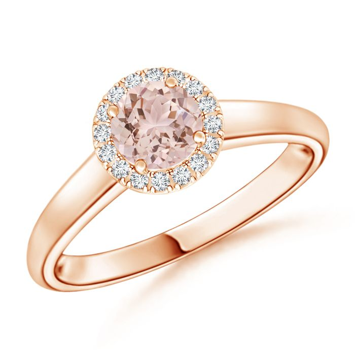 Angara Cathedral Round Morganite Halo Ring with Diamond Accents uewrsf