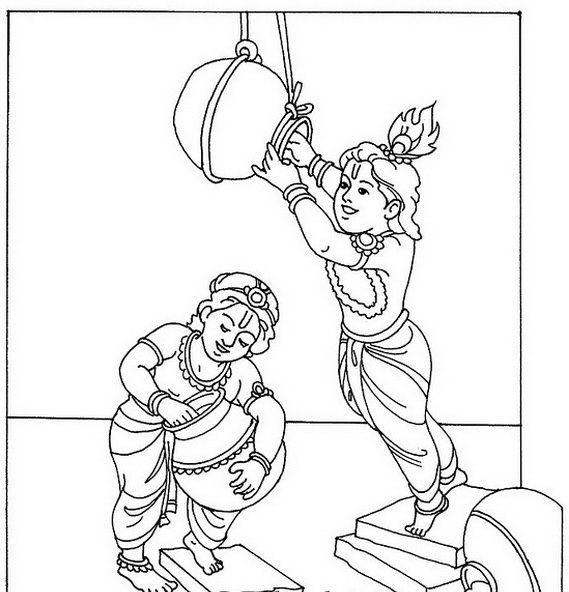 shri krishna janmashtami coloring printable pages for kids ... - Baby Krishna Images Coloring Pages