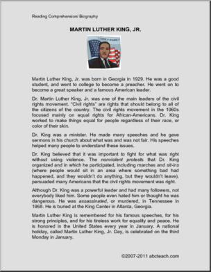 Biography Martin Luther King Jr Elementary An Informative Reading Comprehension Essay About