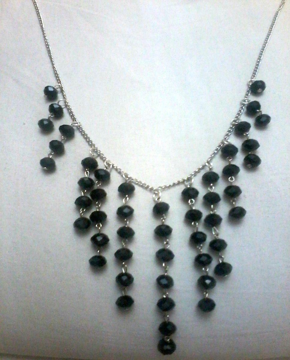عقد من الكريستال الاسود هاند ميد Silver Necklace Jewelry Silver