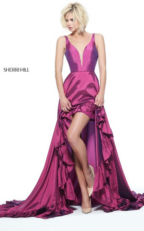 Plum Slit Taffeta Hi Lo Pageant Dress Prom