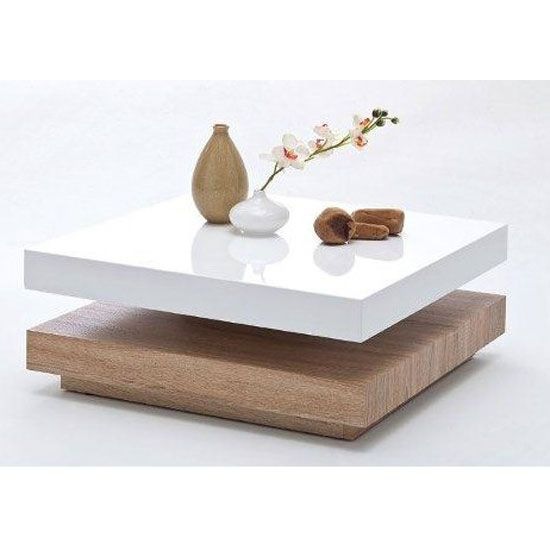 Hugo Square Coffee Table High Gloss White And Oak Base Buy High Gloss Coffee Table Furnitureinfashion Uk