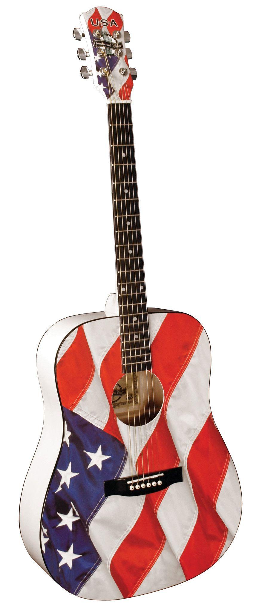 Usa Flag Acoustic Guitar Lets Rock Guitar Acoustic Guitar Acoustic