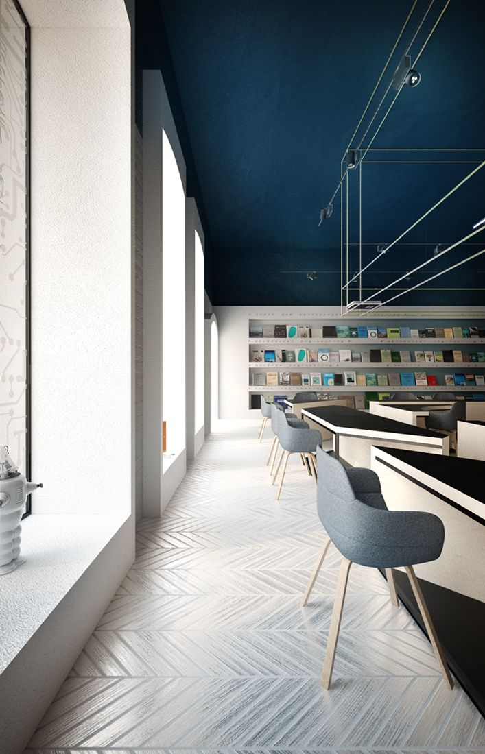 Its Hip To Be Square Science Cafe Library By Anna Wigandt Commercial Office DesignBlue