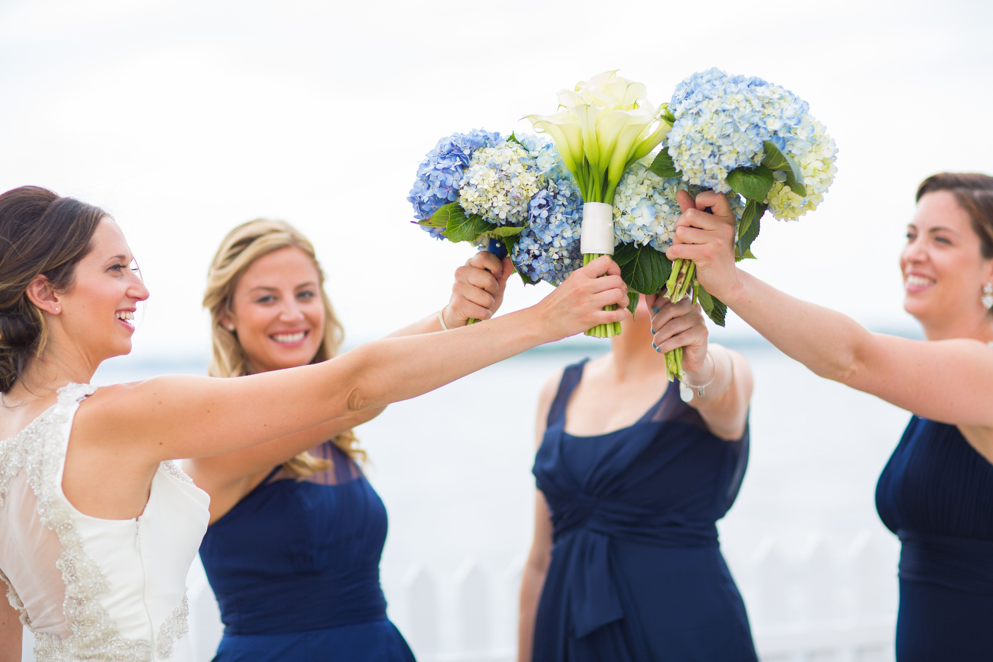 #JohnOrtonFlowersandEvents #HyattRegencyNewport #MStudios #Bride #Bridesmaids #Wedding #FallWedding #NewportRI #NewportWedding #Hydrangea #Blue #CallaLily #Flowers
