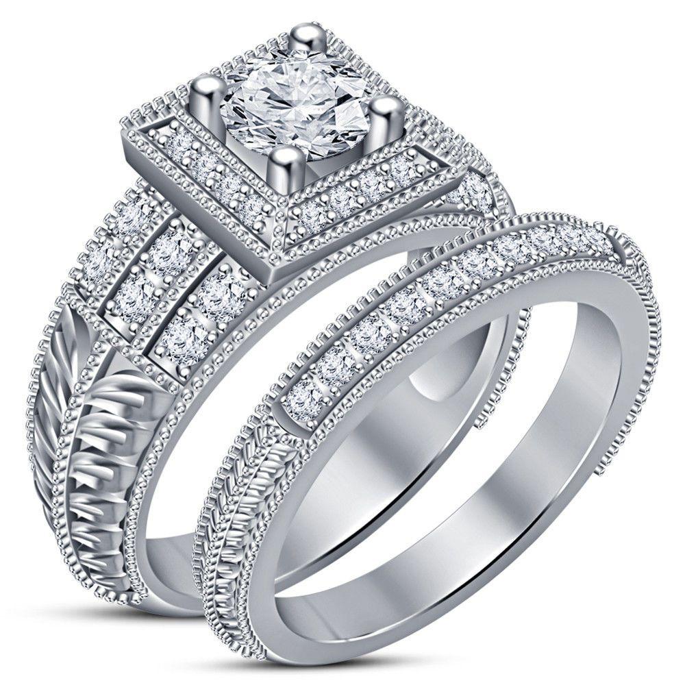 14K White Gold Finish 2.00 Ct Round Diamond Wedding Bridal
