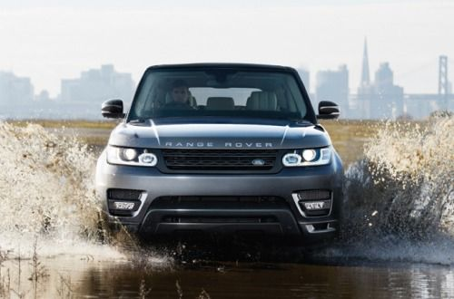 Wonderful Vehicle · Land Rover Corris Grey Range Rover Sport Driving Through Water.
