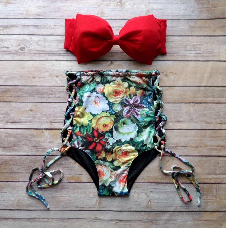 Bow Bandeau Bikini Vintage Style High Waisted Pinup by ...