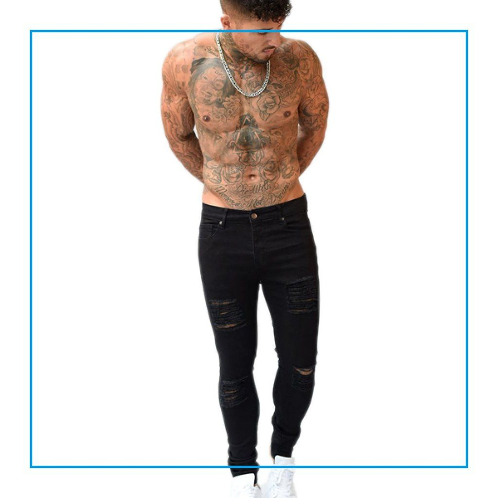 Black Fashion Models Poses: Sinners Black Ripped & Repaired Skinny Jeans